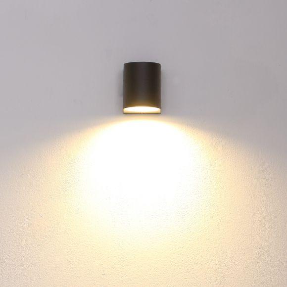 schwarze LED Außen Wandleuchte aus Aluminiumdruckguss, Downlight, robust, inkl. GU10 LED %w warmweiß Außenstrahler