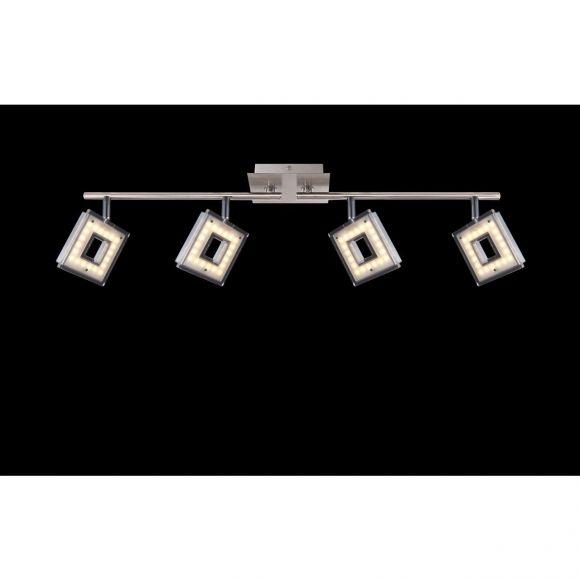 schwenkbare eckige LED Deckenleuchte aus Acryl matt 2 Arme gerade Strahler quadratisch beweglich 4-flammige Deckenlampe nickel und Chrom