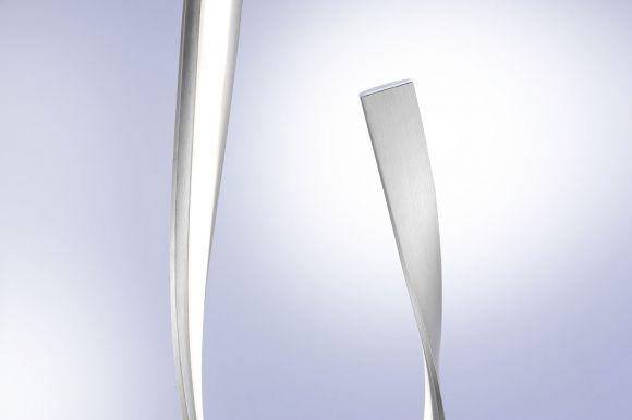 LED Stehleuchte dimmbar, geschwungen Blattgold  o. Schwarz-Rost o. Silber mit Schnurdimmer 140cm