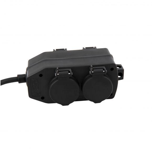 Steckdosenblock für Außen / Garten, 4-fach Verteilerdose / Stromverteiler, IP44 spritzwasssergeschützt, mit Aufhänger, 3m Gummizuleitung