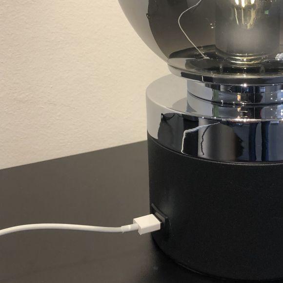 Tischleuchte, Dimmer, Rauchfarbenes Glas, USB-Schnittstelle, 28cm hoch
