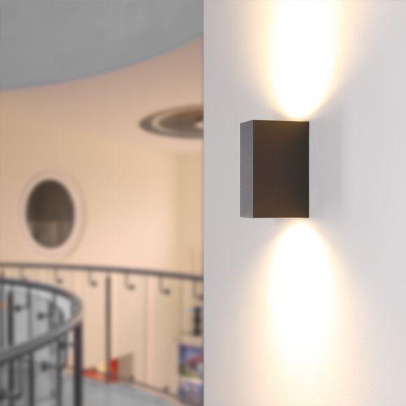 LHG Wandleuchte Außen, eckig, Up&Down, anthrazit, inkl. 2x 5W GU10 LED