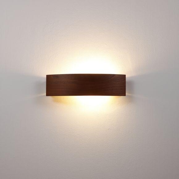 Wandleuchte, Furnierholz, Blende, Meranti, indirekte Beleuchtung