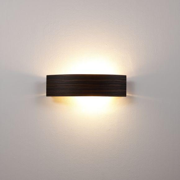 Wandleuchte, Zebrano dunkel, Holz, Glasplatte