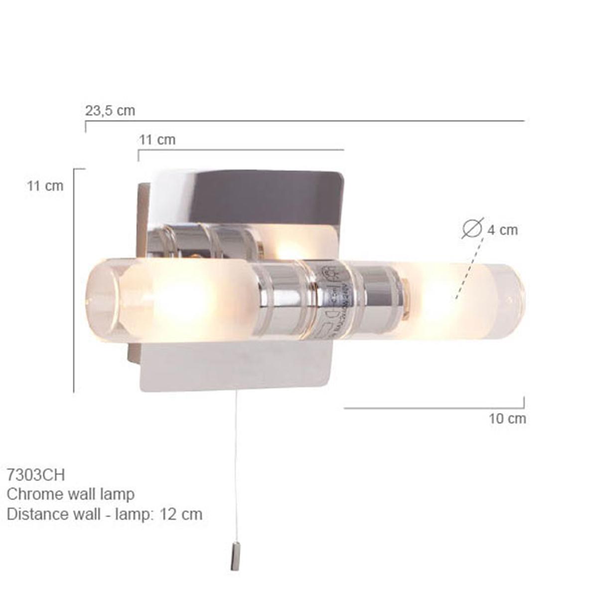 2 flammige LED Wandleuchte mit Zugschalter, Badezimmer