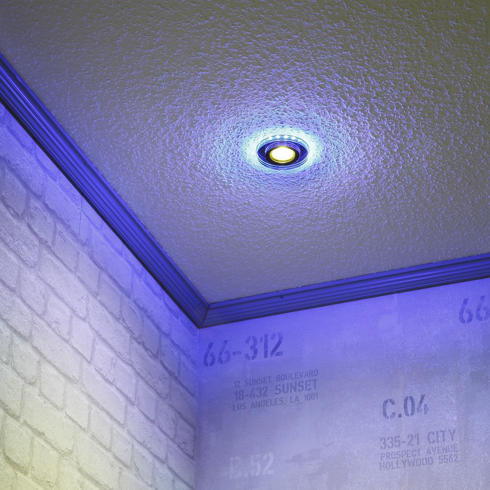 LHG Einbauspot  mit blauer LED-Hintergrundbeleuchtung rund