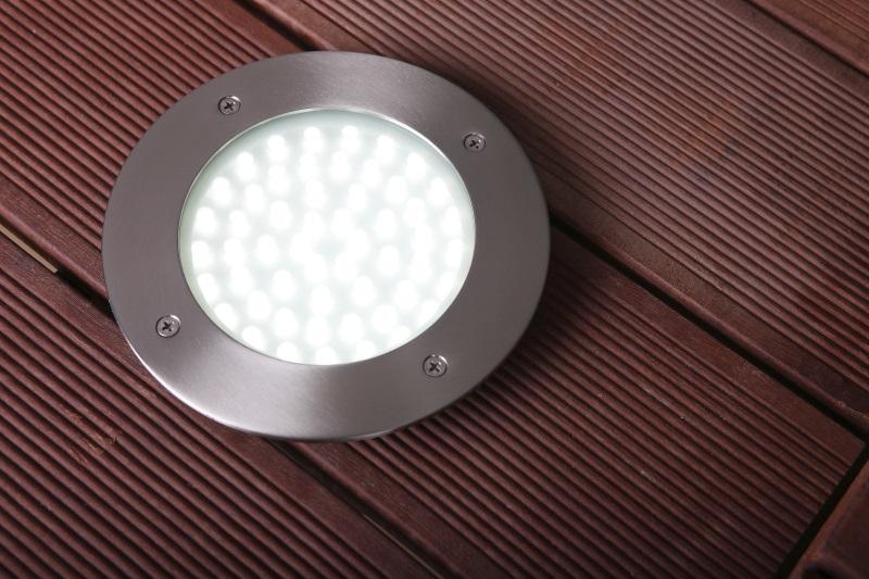 LHG LED Bodeneinbauleuchte, Edelstahlring, D 18cm, befahrbar, LED warmweiß