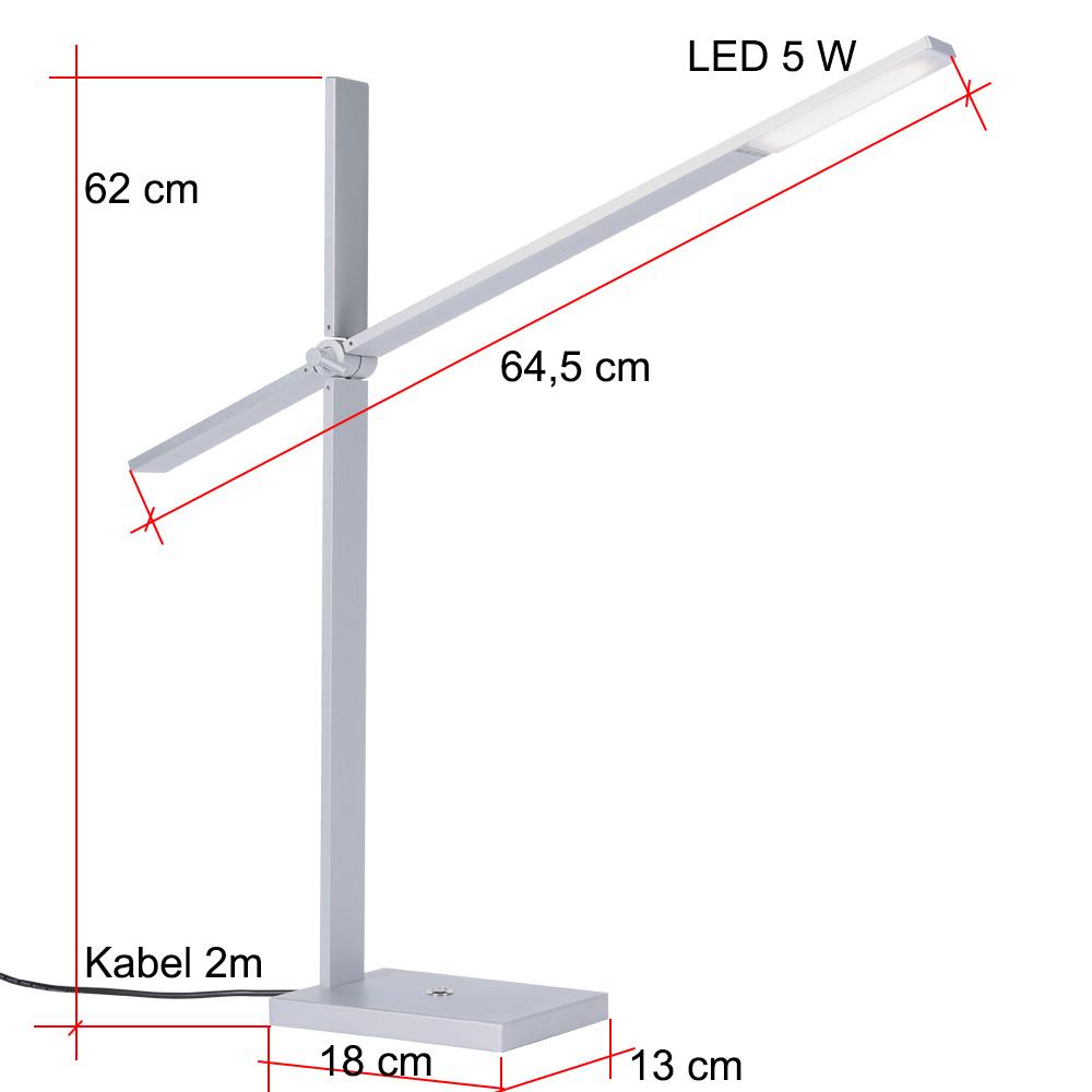 LED Tischleuchte Aluminium, beweglich inkl. 5W LED