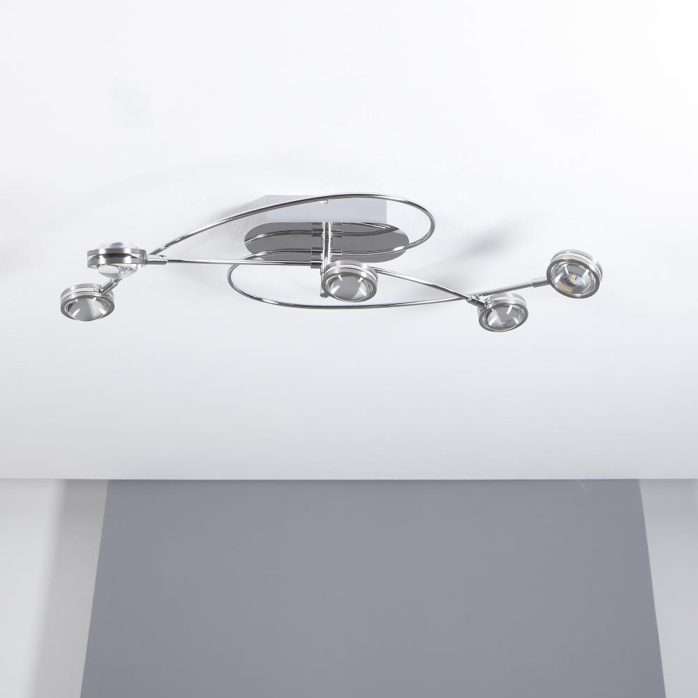 LED-Deckenleuchte Lentil Chrom mit 4-fach Switch-Dimmer