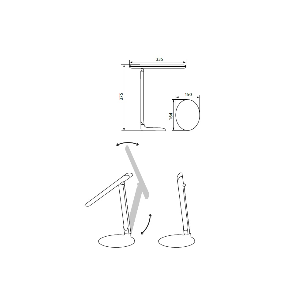 LED-Schreibtischleuchte, Tastdimmer, ausrichtbar, Schwarz o. Weiß