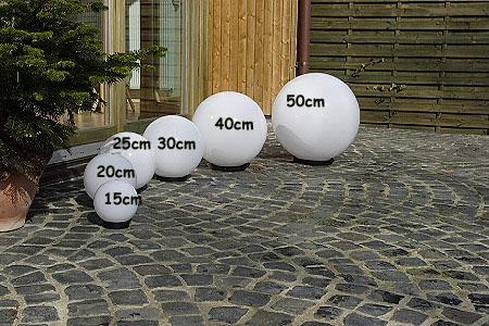 LHG Kugelleuchten, 3er Set, 2x 20 cm & 1x 30 cm, Erdspieß, inkl. LED