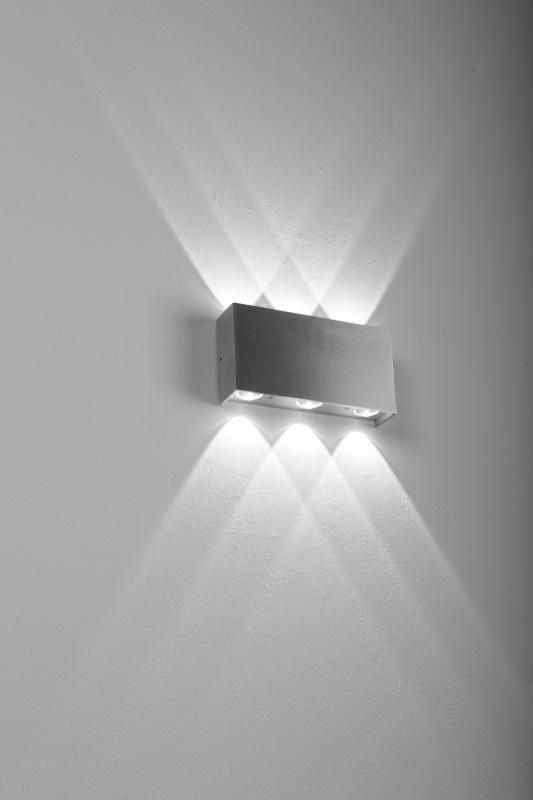 LHG LED Wandleuchte Strom, Innen & Außen, Up & Downlight, eckig, Aluminium gebürstet, 6-flammig, 4000 Kelvin Lightstream