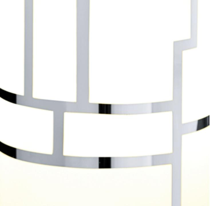 Pendelleuchte mit Dekorglas weiß-chrom 1-flammig