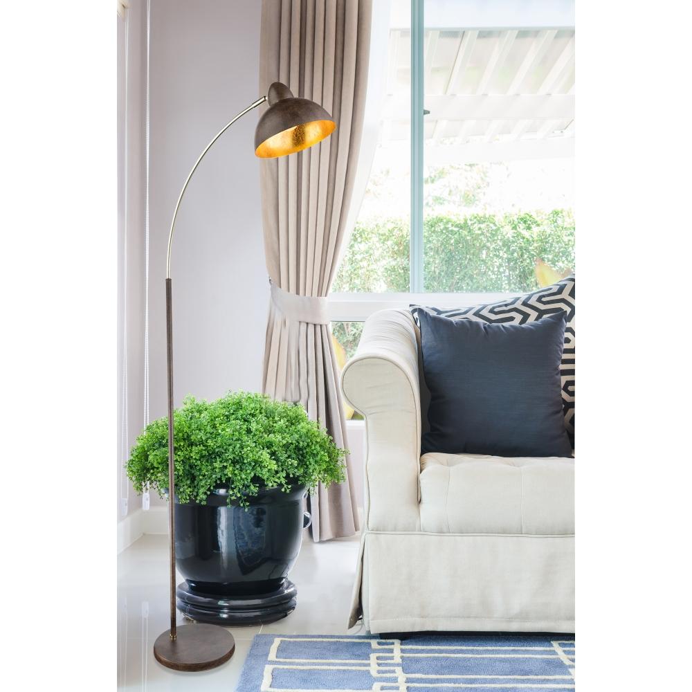 Stehleuchte Stehlampe Rostfarbig Gold Fussschalter E27 Wohnlicht