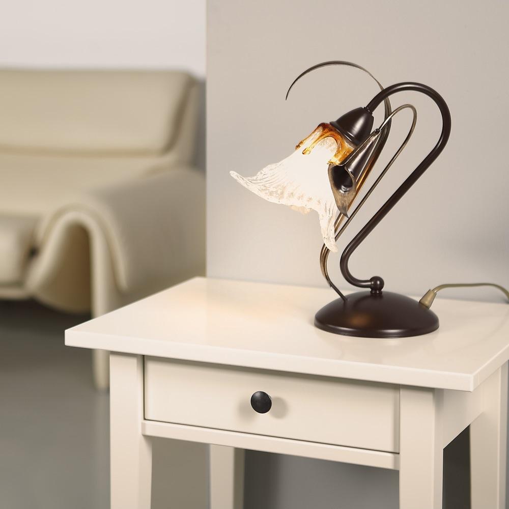 Tischleuchte, Florentiner Stil, antik, braun, 1-flammig,Glas dekorativ