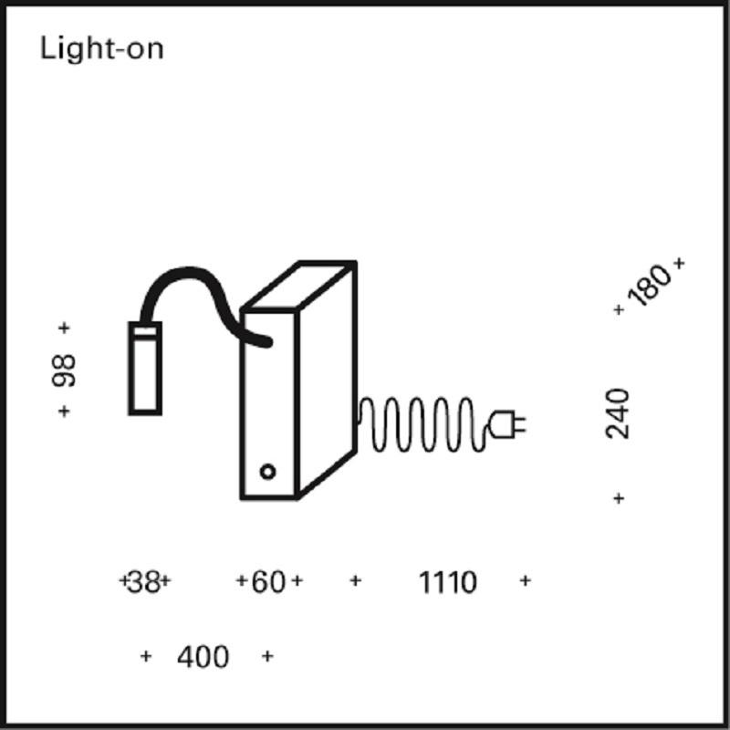 Top Light Buchstütze Light on Weiß-matt, Kopf Silk, Flexarm 30cm