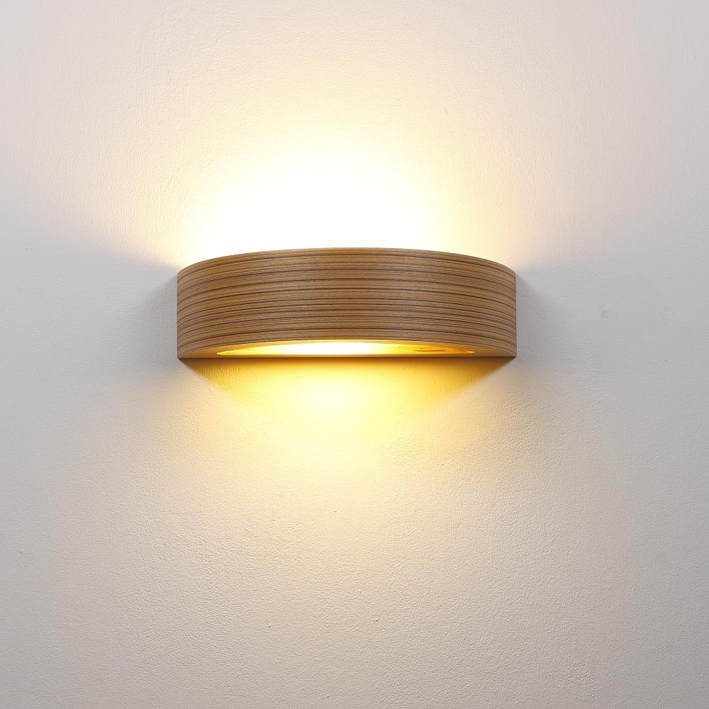 Wandleuchte, Furnierholz, Zebrano, indirektes Licht, Glasscheibe
