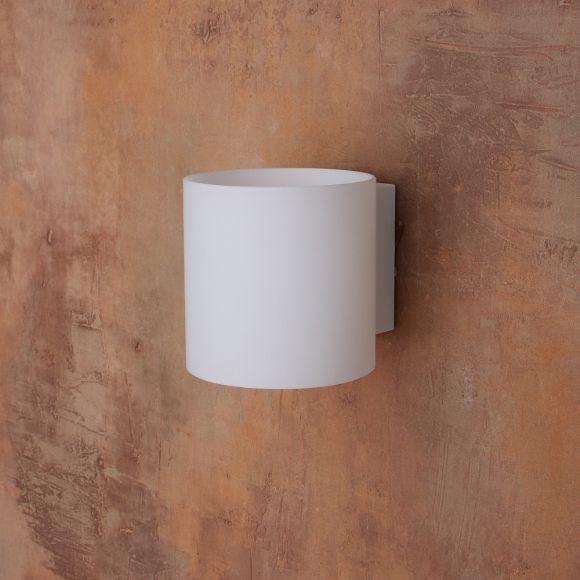 Up & Down Wandleuchte weiß mit satiniertem Glas inkl. 5W LED warmweiß , 10cm, Wandlampe modern für Wohnzimmer oder Flur