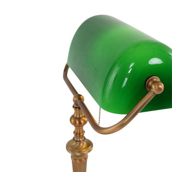 Bankerleuchte Tischleuchte mit schwenkbarem, grünem o. weißem Schirm aus Glas, Bankers Lamp, Fuß bronze, Schnurschalter, E27