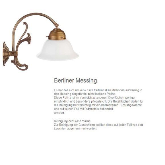 Berliner-Messing-Tischleuchte mit geradem Opalglas Ø 35cm