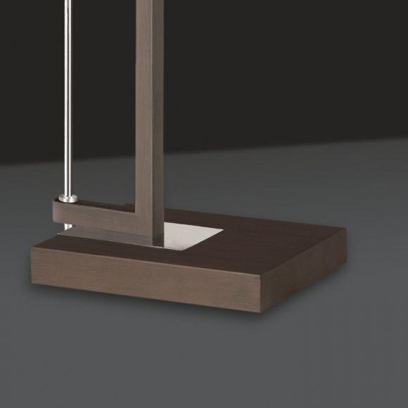 Bogenleuchte, braun, Stoffschirm weiß, ausziehbar, modern, Fußdimmer