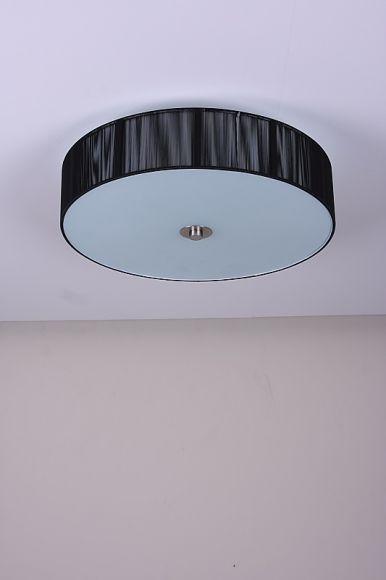 LHG Deckenleuchte, Organzastoff schwarz, D 50 cm, 4-flammig, LED geeignet