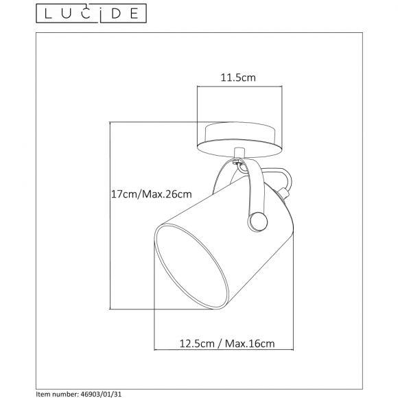 Deckenstrahler Edo von Lucide in weiß in drei Ausführungen