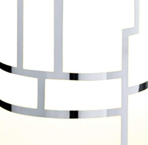 Hängeleuchte mit Dekorglas, Dekorglas weiß-chromfarbend, 3 flammig