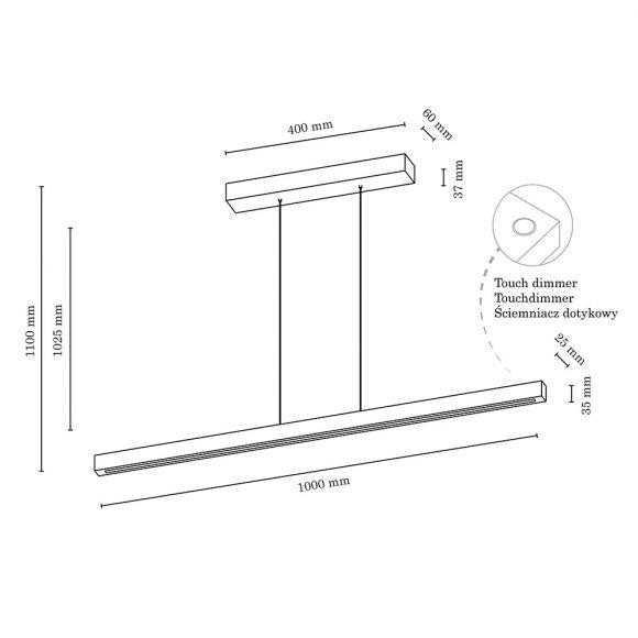 Holz LED Pendelleuchte Smal für den Esstisch  schlichtes skandinavisches Design mit Tochdimmer, 100cm, 3 Holzarten wählbar