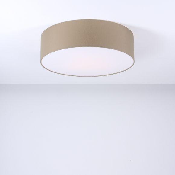 Deckenleuchte Mara, Chintz-Stoffschirm, Grau-braun, 50 cm