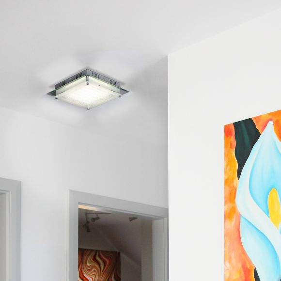 LED Deckenleuchte, chrom, quadratisch, 28x28cm, modern, Design