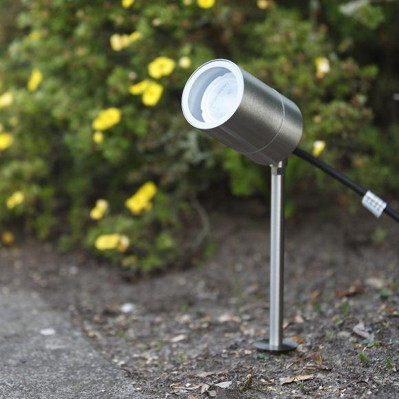 LED Erdspießleuchte, Gartenstrahler, Edelstahl, punktuell, inkl. LED