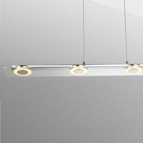 LED Pendelleuchte, Chrom, Dimmbar, Berührungsdimmer, L= 106cm