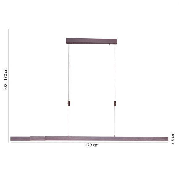 LED Pendelleuchte 3 x 14 Watt, Berührungsschalter, stufenlos dimmbar, braun o. messing