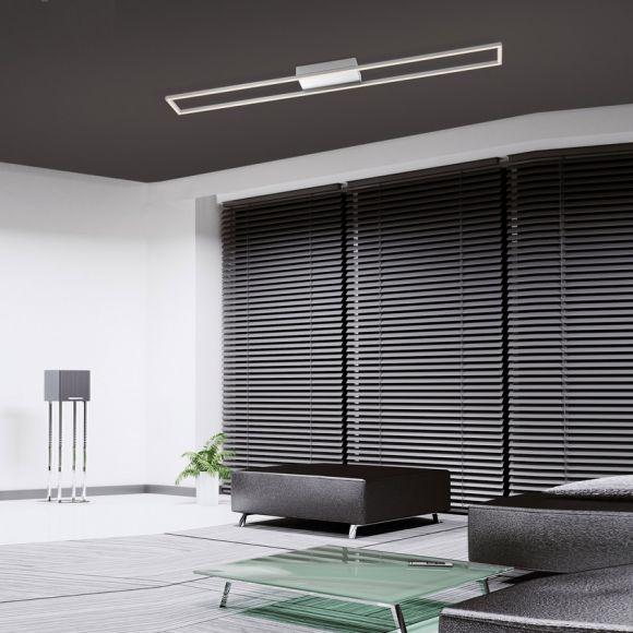 LED-Deckenleuchte, eckig, Stahl, Acrylglas, warmweiß