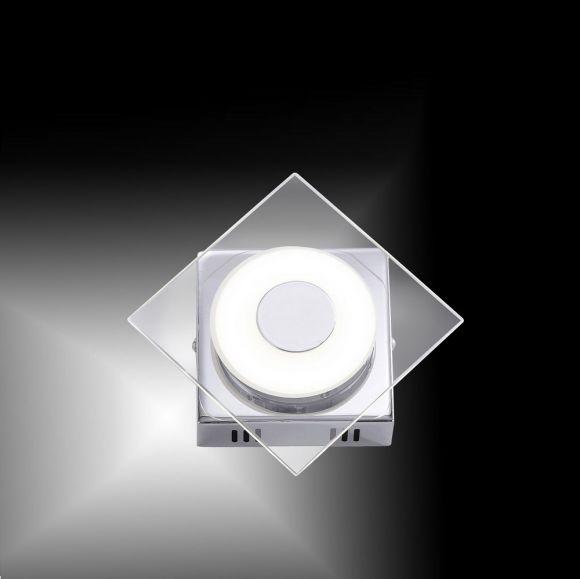 Moderne LED-Wandleuchte Chrom /Glas - 1x6Watt LED