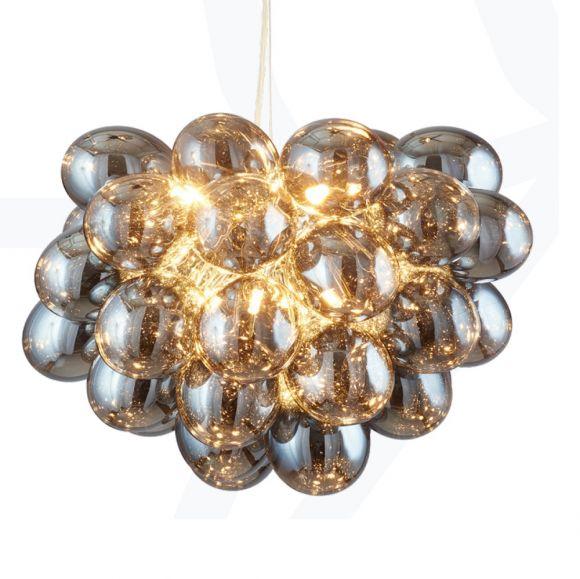 pendelleuchte im seifenblasen look metall glas silber transparent silber wohnlicht. Black Bedroom Furniture Sets. Home Design Ideas