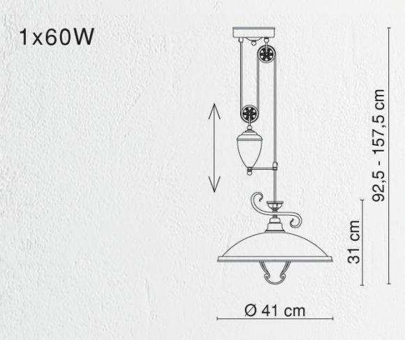 LHG Pendelleuchte mit Gegengewicht, höhenverstellbar, in Altmessing, Glas in Amber, inklusive E 27 60Watt Leuchtmittel