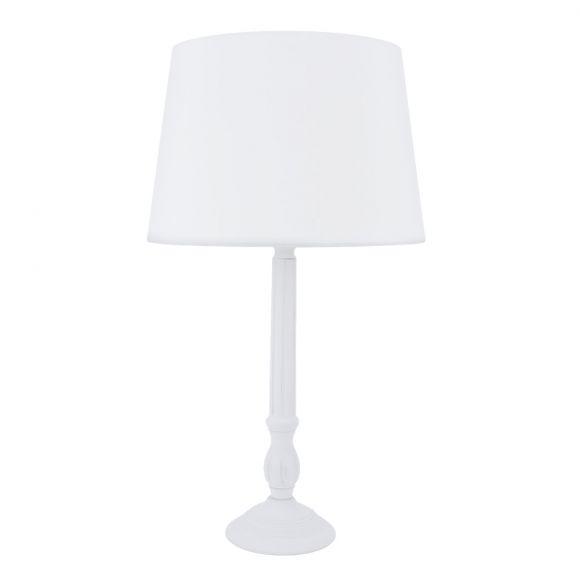 LHG Tischlampe, Holzfuß, Stoffschirm, weiß, klassisch, Shabby Chic