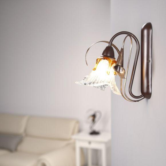 Wandleuchte, Florentiner Stil, antik, braun, 1-flammig, Glas dekorativ