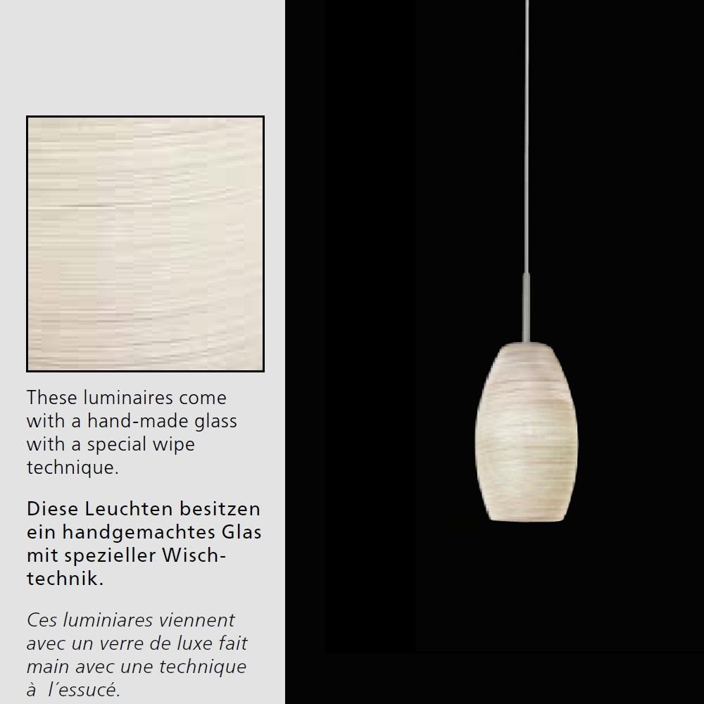 1-flammig LED-Pendelleuchte Glas mit Wischtechnik