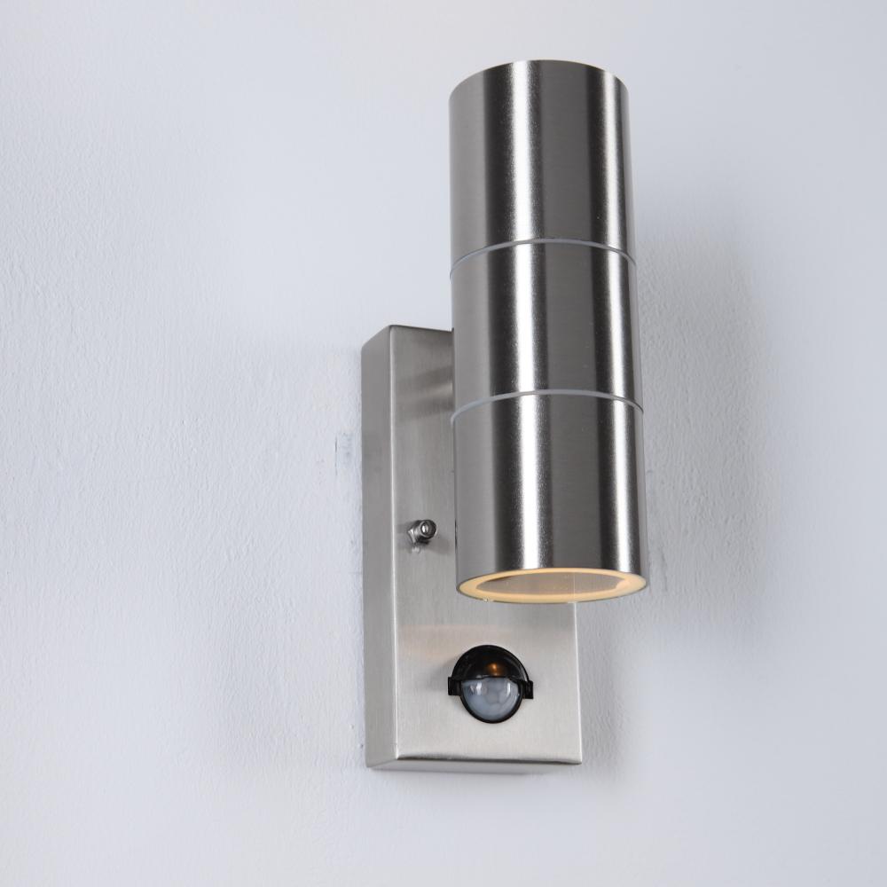 LHG Außenwandleuchte, Bewegungsmelder, silberfarbig, Up&Down, H 21,6 cm