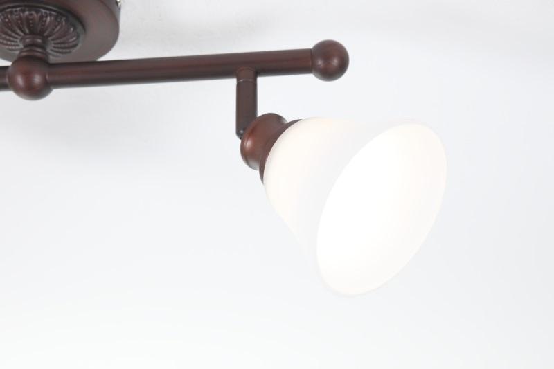 LHG Deckenleuchte, Landhausstil, dunkelbraun, Glas weiß, 2flammig, dimmbar