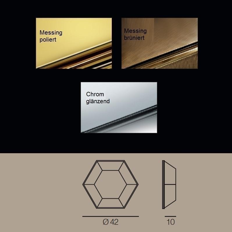 handgefertigte Deckenleuchte mit hochwertigem Kristallglas, Ø 42cm in drei edlen Oberflächen wählbar