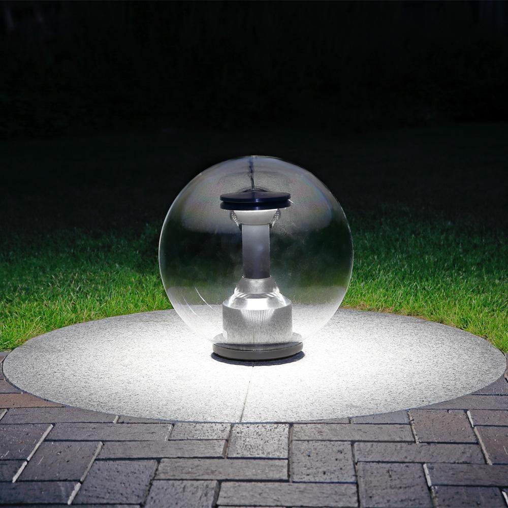 LHG LED-Kugelleuchte transparent IP44, 40 cm mit Erdspiess