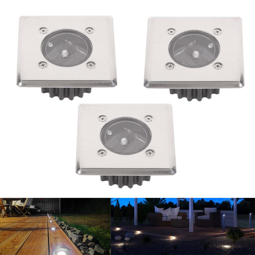 LED-Solar-Bodeneinbauleuchte, 3er Set, eckig, Edelstahl, trittfest