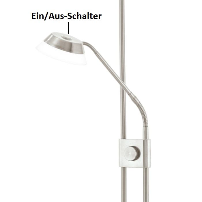 Moderner LED Fluter dimmbar, mit Lesearm,   Oberfläche  wählbar
