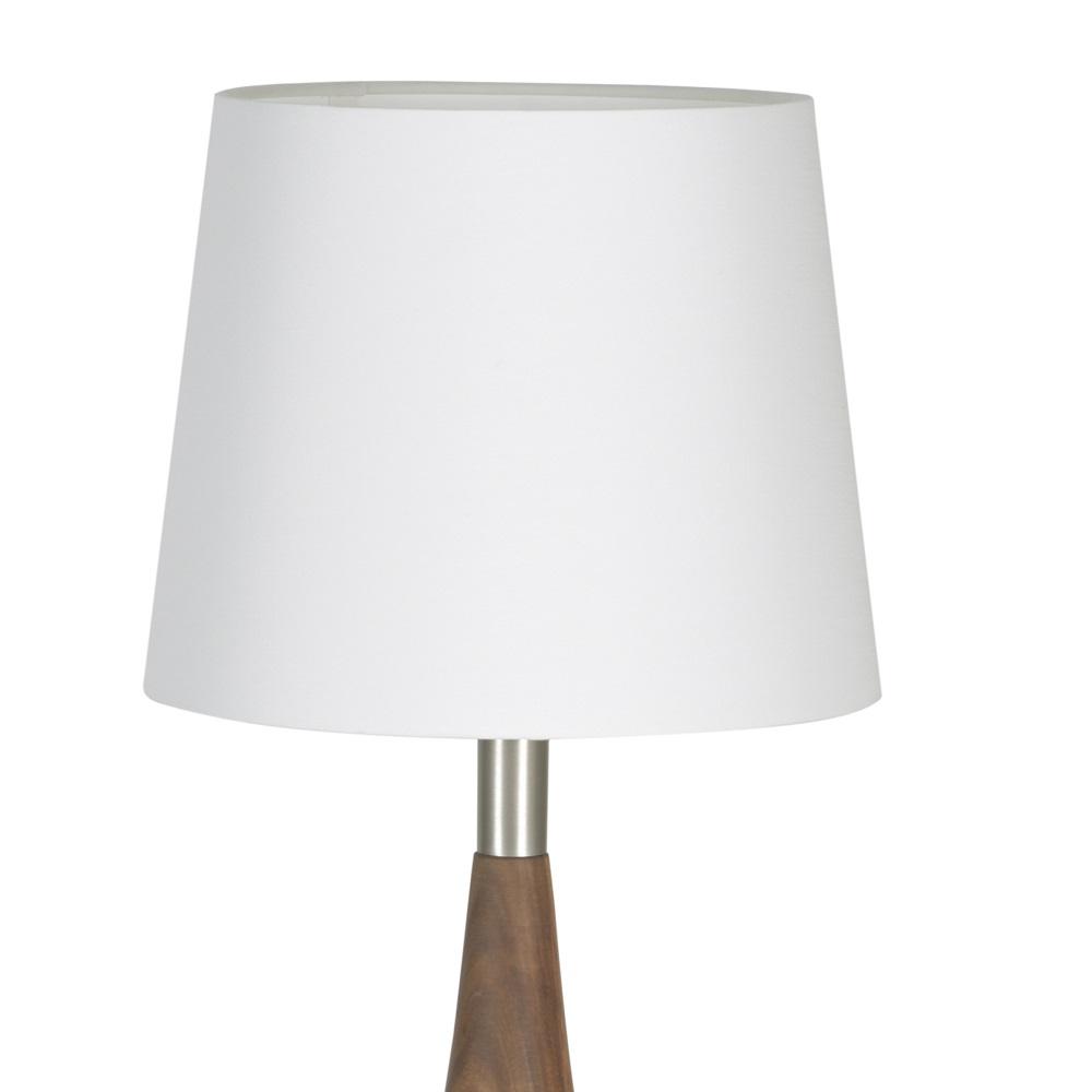 Tischleuchte, Cotton Schirm, Massivholz, Nussbaum, H= 61 o. 74cm