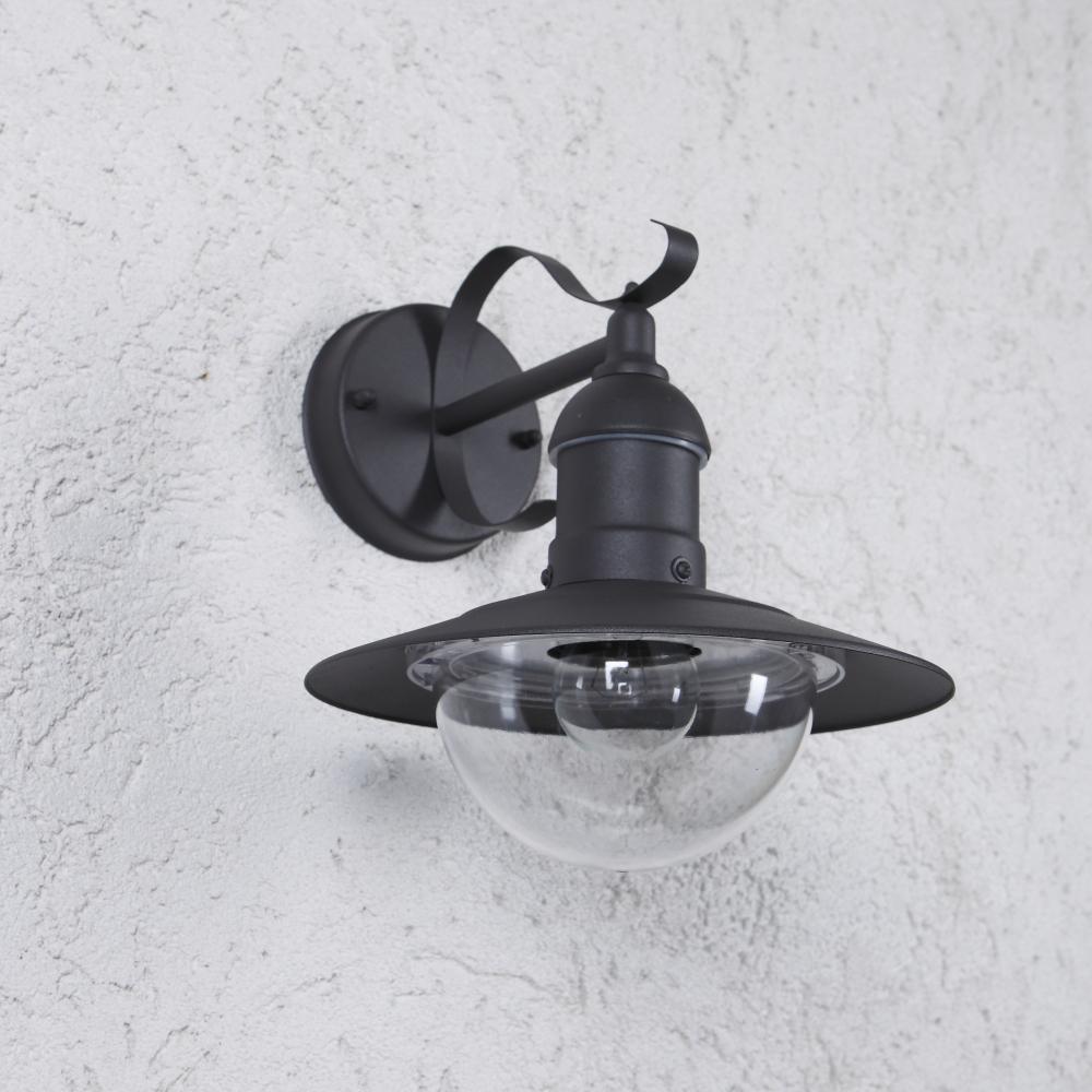 LHG Wandleuchte Außem, rustikal, anthrazit, E27 LED einsetzbar