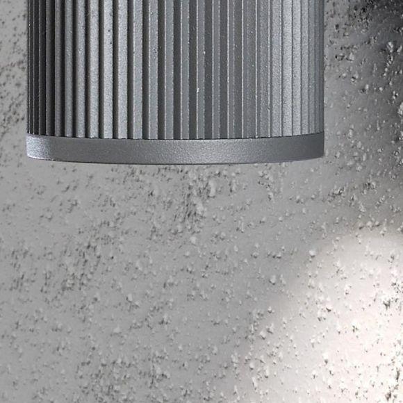 Außenwandleuchte, Aluminium, Grau, up and down, modern, 20,5 cm hoch